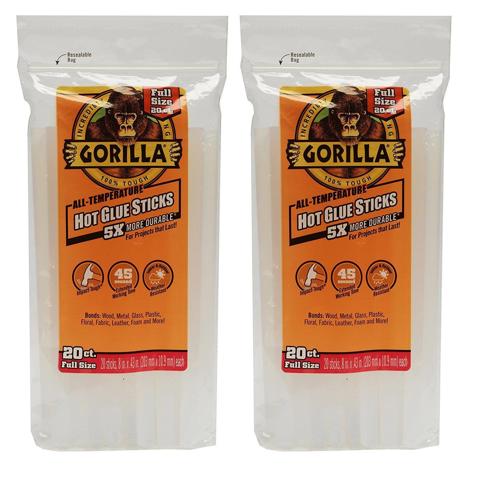 Gorilla 3032016 Hot Glue Sticks 8'' Full Size (20 Count) 2 Pack, Clear