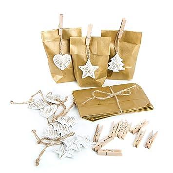 24 De del paquete Dorado pequeñas bolsas de papel 9 x 15 x 3 ...