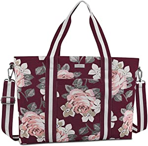 MOSISO Laptop Tote Bag for Women (Up to 15.6 inch), Canvas Rose Multifunctional Work Travel Shopping Duffel Carrying Shoulder Handbag Compatible with MacBook, Notebook and Chromebook, Red