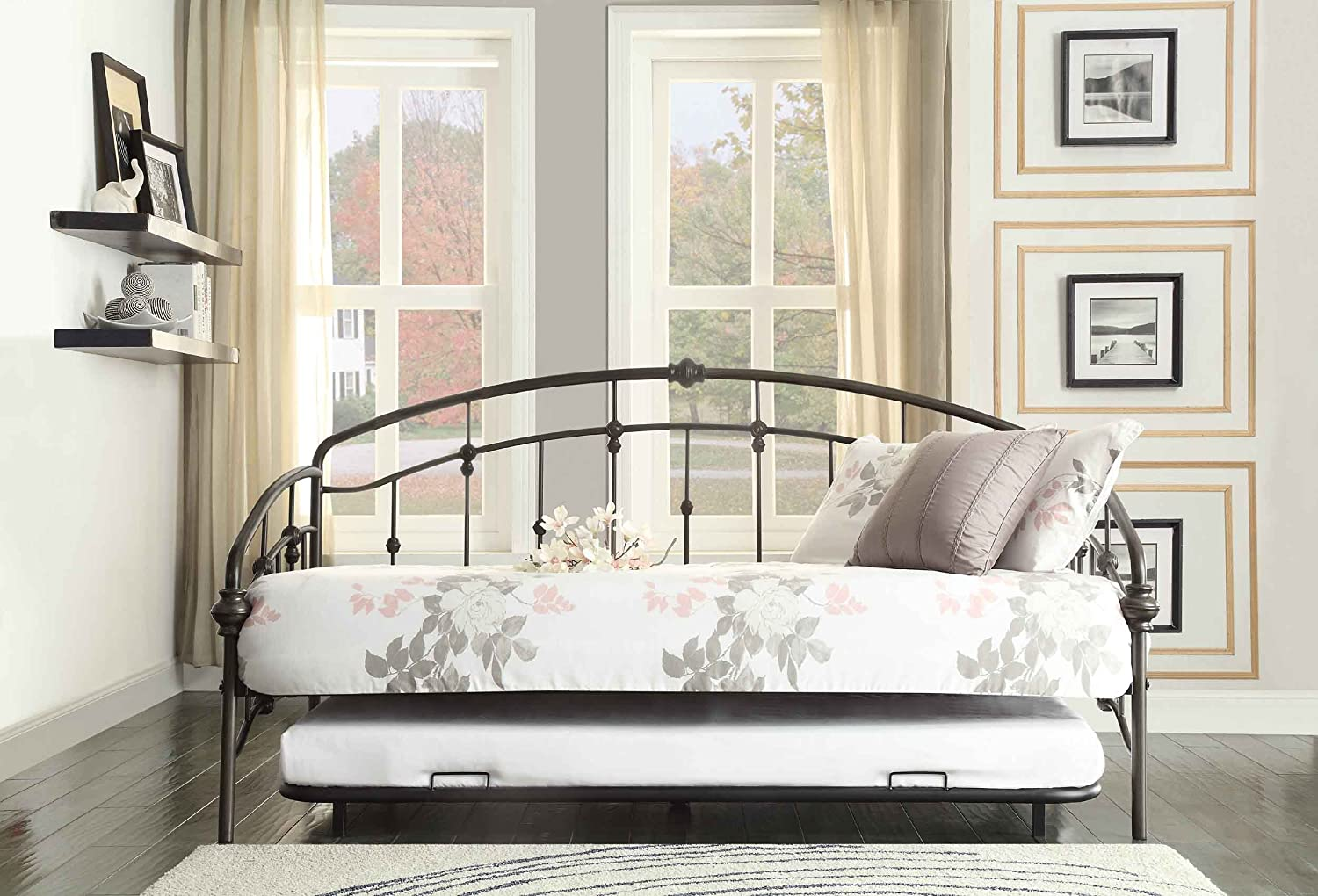 Amazon.com: Homelegance 4962DB-NT Metal Daybed with Trundle ...