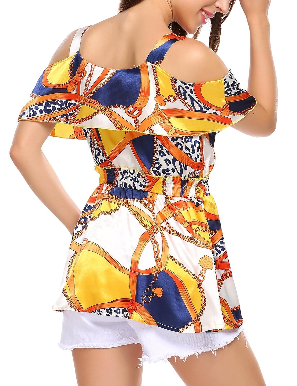 Wildtrest Womens Off The Shoulder Ruffle Sleeve Shirt Spaghetti Strap Halter Tops
