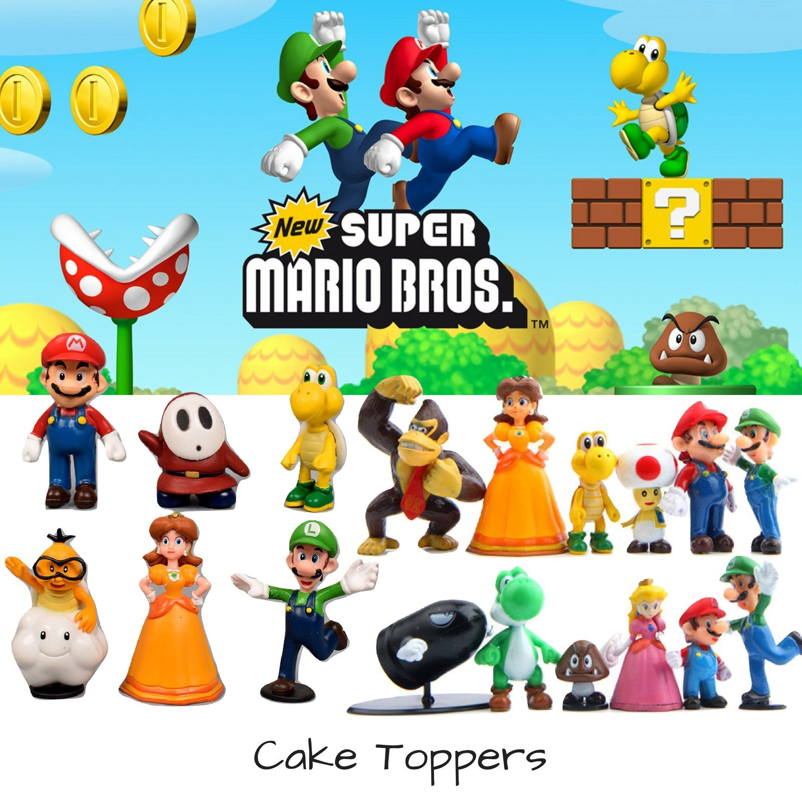 Super Mario Brothers Cake Topper   18 Piece Action Figures