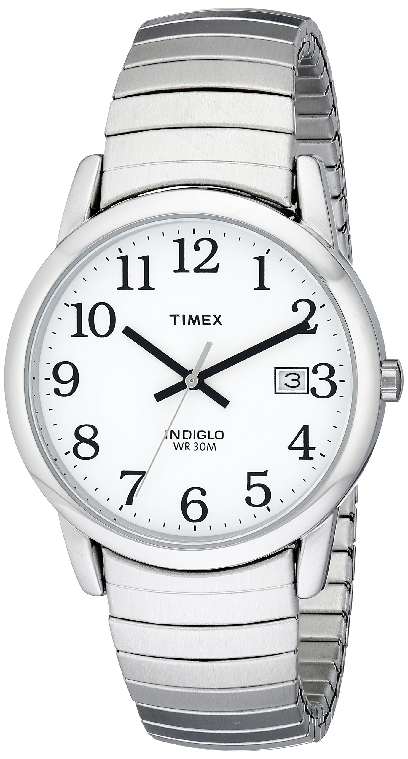Timex Men's T2H451 Easy Reader Silver-Tone Stainless Steel Expansion Band Watch
