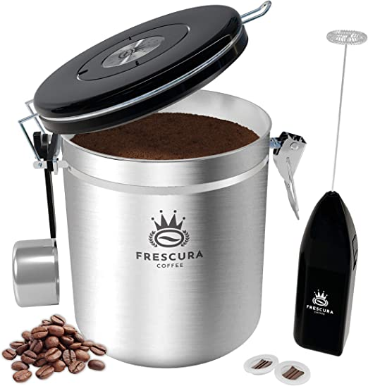 Coffee Canister - Coffee Canisters with Airtight Lids - Coffee Storage Container with CO2 Valve & Date Tracker - Coffee Bean Storage with Hook for Bean Scoop & Frother - Ground Coffee Holder (Silver)