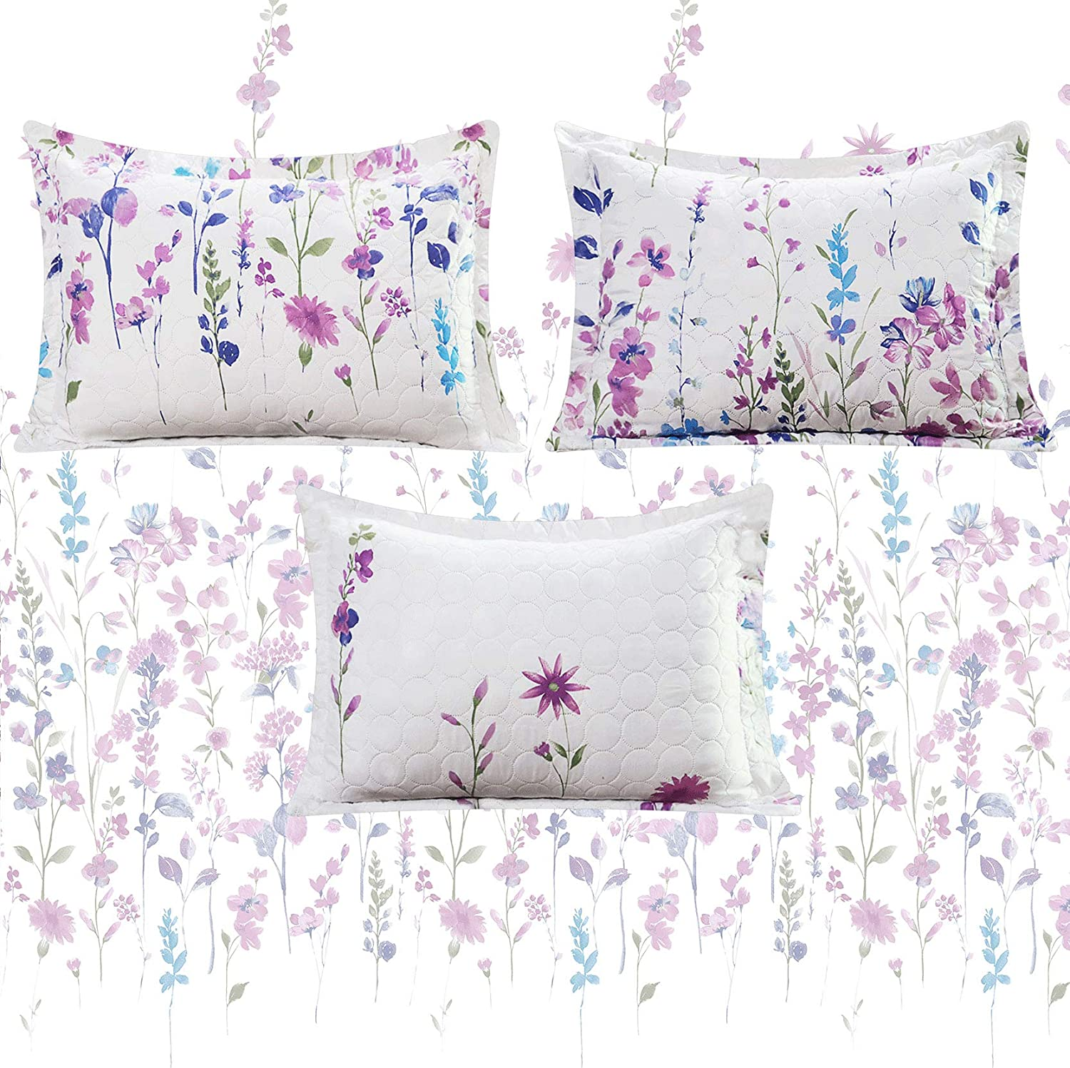 Lightweight Floral Bedding Butterfly Tulip Summer Floral Bedspread Full//Queen Size Gray Purple White Flower Quilts Soft Breathable Thin Coverlet Bedding Cover with Random Pillow Shams