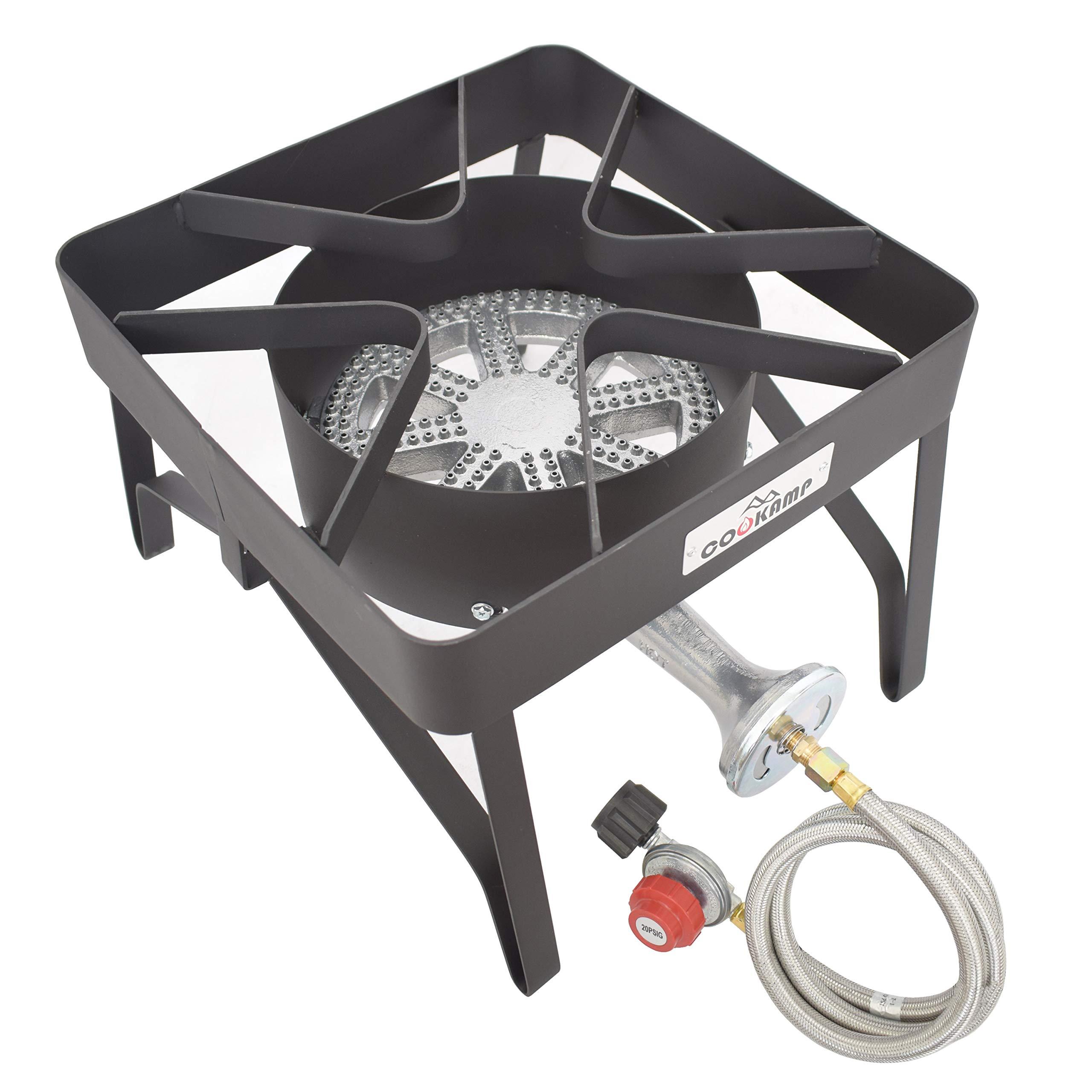 COOKAMP High Pressure Banjo 1-Burner Outdoor Propane Gas Cooker with 0-20 PSI Adjustable Regulator and Steel Braided Hose [ 2018 New Model ] SA1250