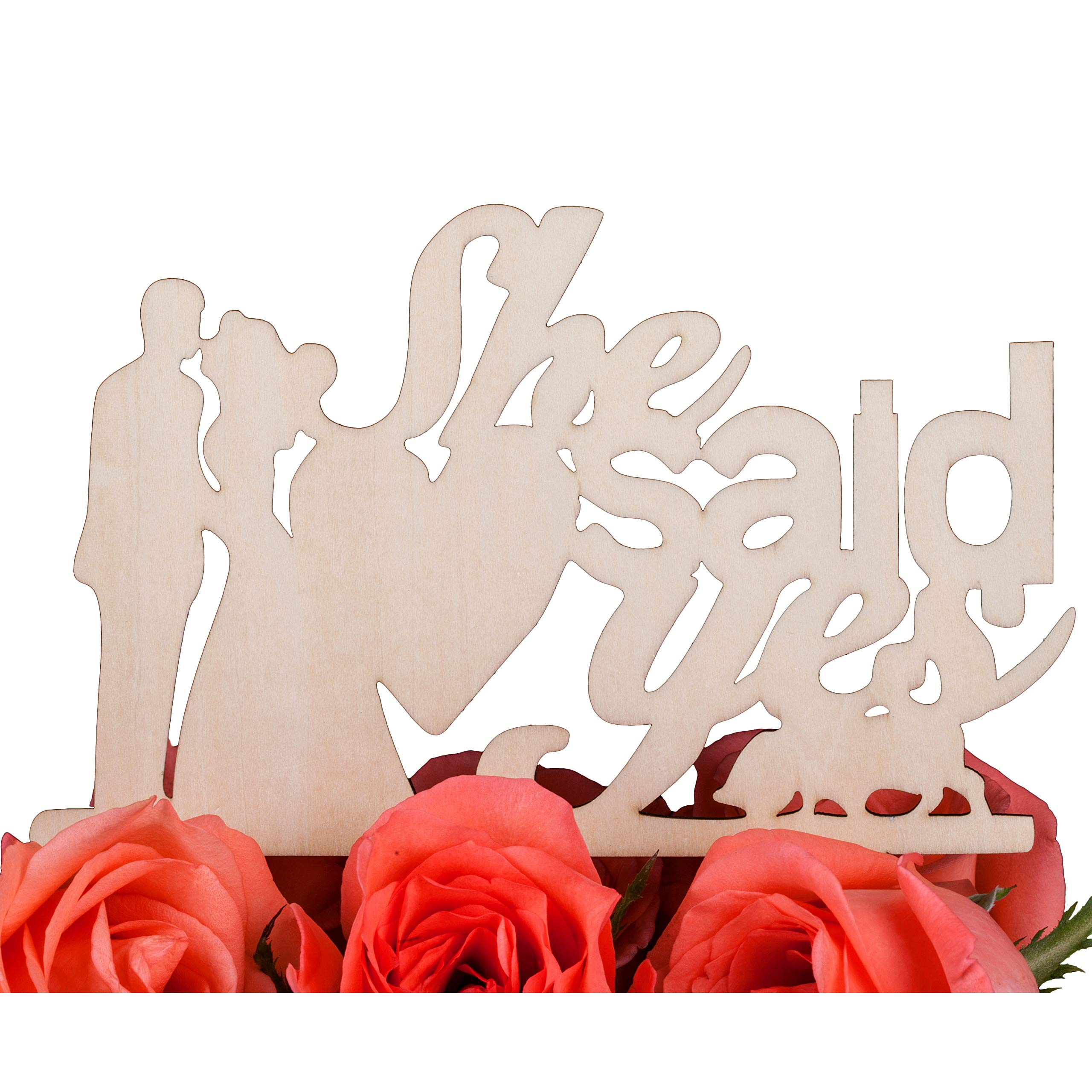 LOVENJOY - Gift Box - She Said Yes Cake Topper Rustic Wood for Engagement Party Decoration(5.9-inch)