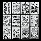 LOKIPA Plastic Stencils Templates Set for Airbrush Painting and Crafts, Set of 12