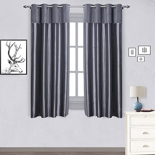 JarlHome Thermal Insulated Blackout Curtain Crumple Splicing Curtains 2 Panels with Lining 52 W x 63 L Grey for Living Room Bedroom JR932201