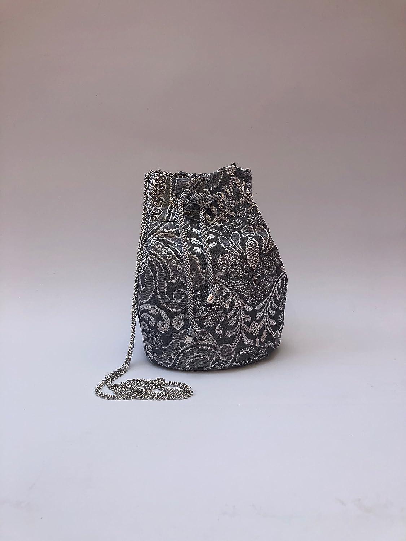 Bolso Bombonera de tela fallera valenciana gris con estampado en plata.: Amazon.es: Handmade