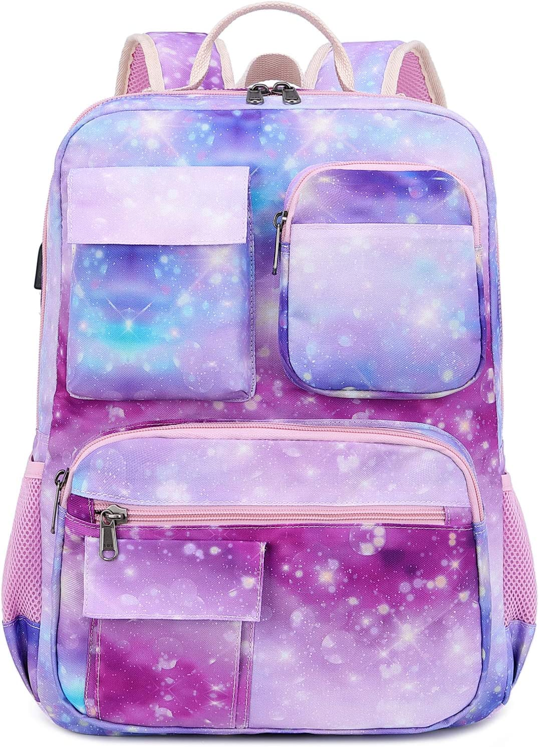 Galaxy Backpack for Women Girls, School Laptop Bookbag with USB Charging Port and Luggage Sleeve (Galaxy Pink)