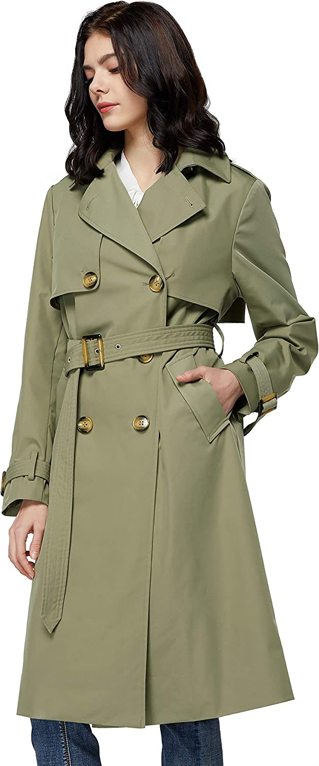 Orolay Women's Long Double Breasted Trench Coat with Belt Light Lape Overcoat: Clothing