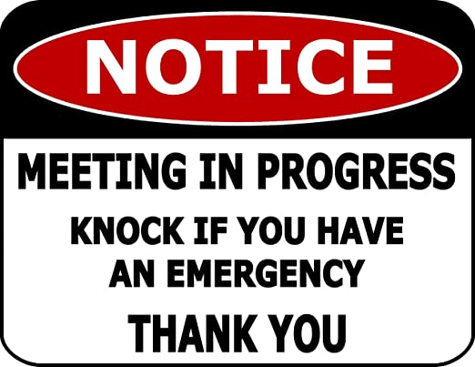 Notice Meeting In Progress Knock If You have An Emergency Thank You Funny Sign