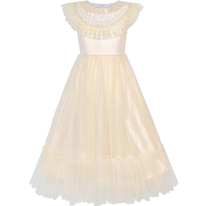 Sunny Fashion Vestido para Niña Flor Champán Vintage Boda Fiesta La Dama de Honor 6 Años