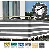 Sol Royal Brise-vue pour balcon Terrasse à oeillets SolVision Protection Regards Vent Soleil 5x0.9m - Gris blanc