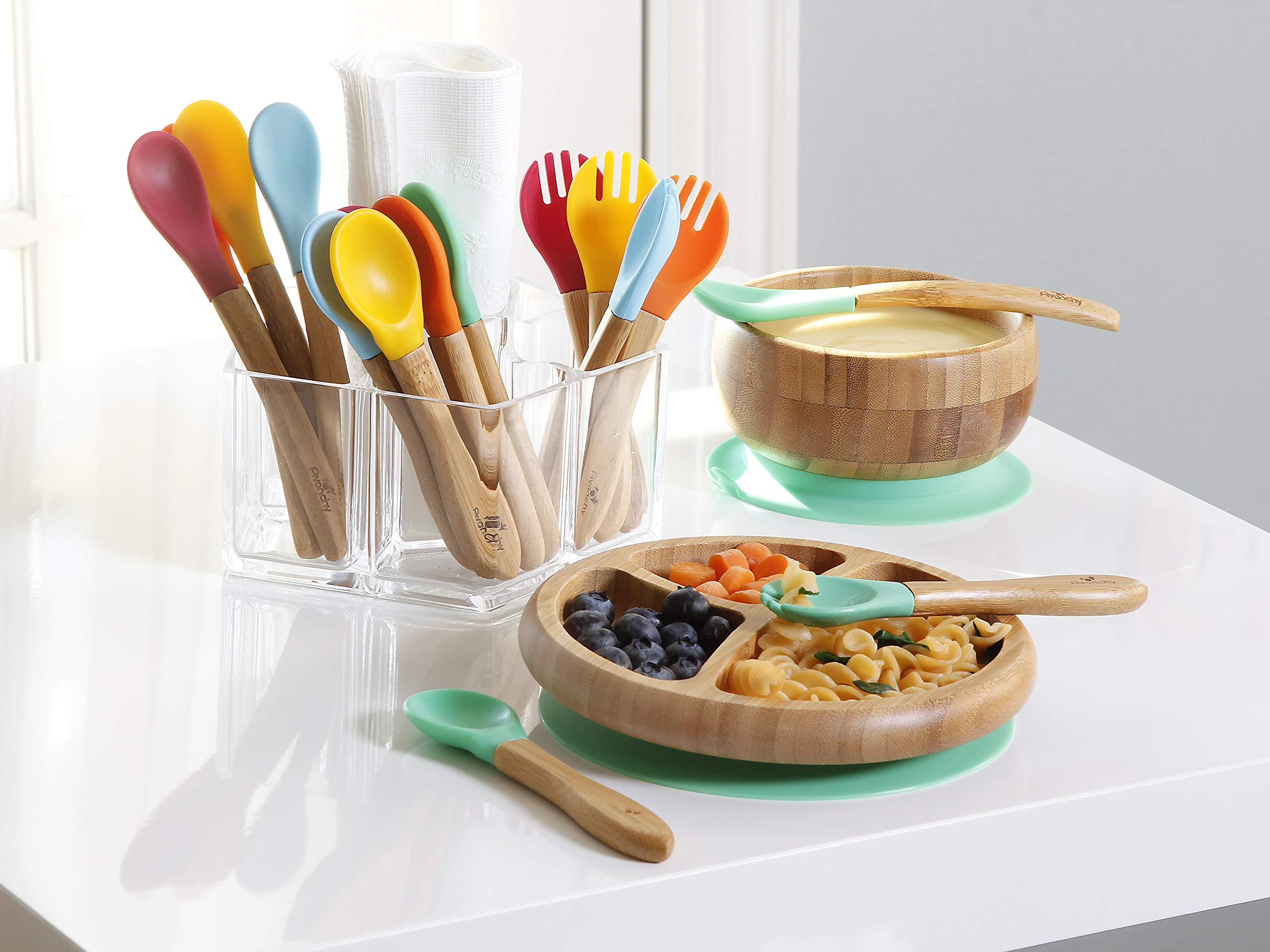Avanchy - Rainbow Baby Set with Spill Proof, Stay Put Suction Bamboo Bowl and Spoon Set, Divided Plate and Spoon Set, and 5 Colorful Spoons - Green