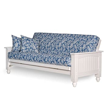 Medium image of cottage style futon frame full size satin white   solid wood construction