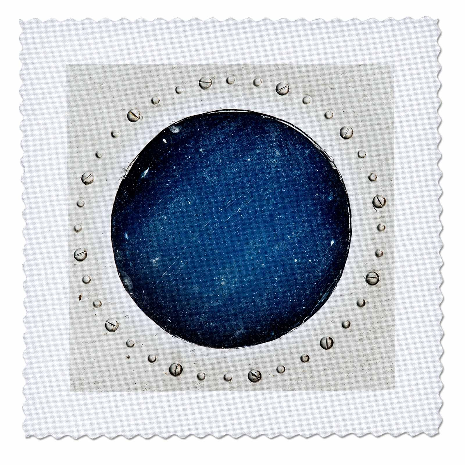 3dRose Alexis Photography - Abstracts of Aviation - Grunge round window of a vintage airplane. Reflection of the Universe - 25x25 inch quilt square (qs_272024_10)