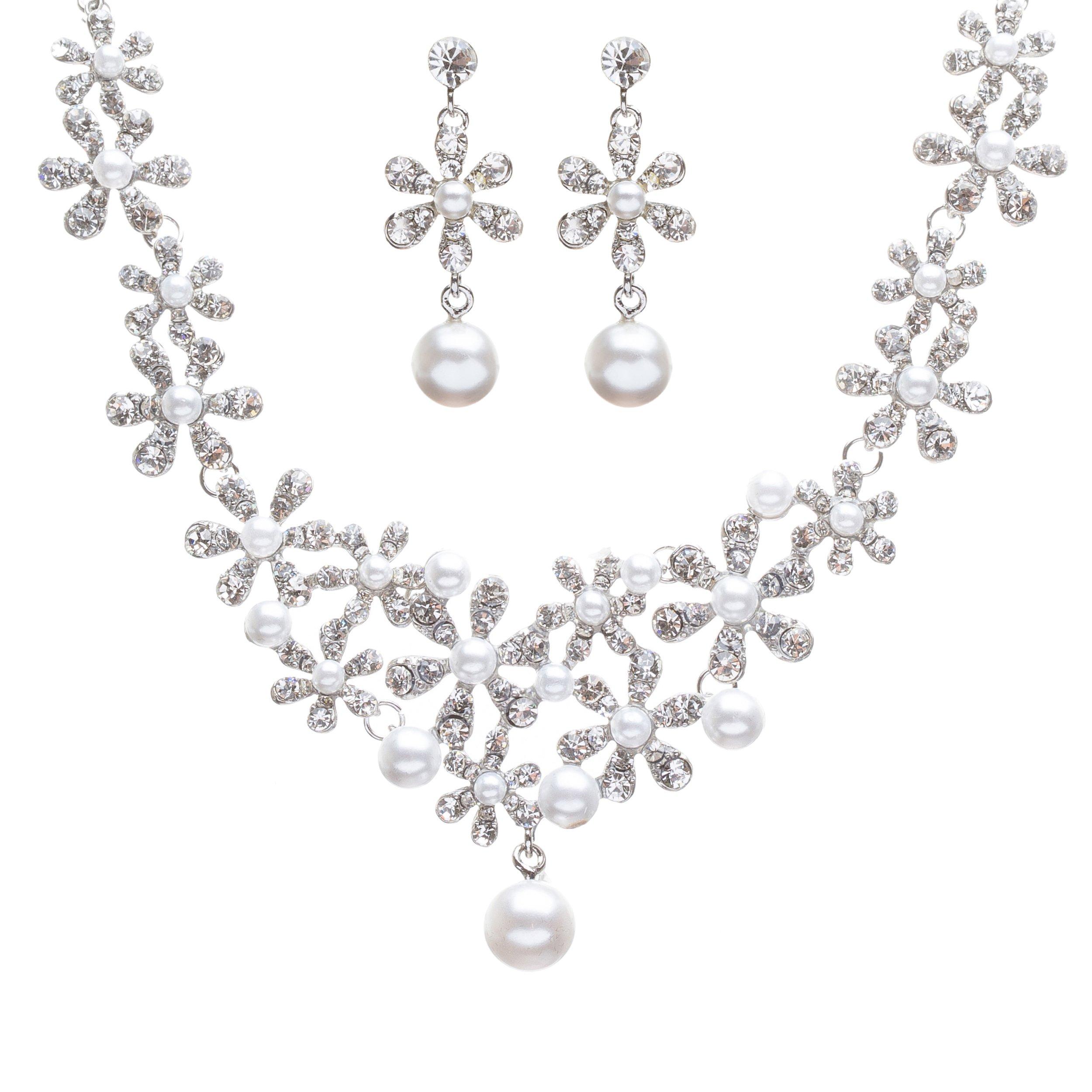 ACCESSORIESFOREVER Women Bridal Wedding Prom Fashion Jewelry Set Crystal Rhinestone Pearl Gorgeous Daisy Necklace SV