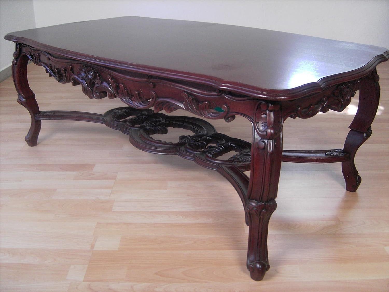 Couchtisch, Sofatisch, exclusiv im venezianischem Stil auf nußbaumfarben gebeitzt mit vielen Ornamenten.