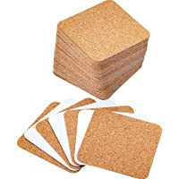 Hotop Self-Adhesive Cork Coasters Squares Cork Mats Cork Backing Sheets for Coasters and DIY Crafts Supplies (60, Square)