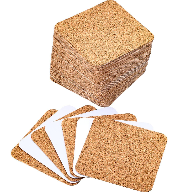 Hotop 60 Pack Self-adhesive Cork Coasters Squares Cork Mats Cork Backing Sheets for Coasters and DIY Crafts Supplies