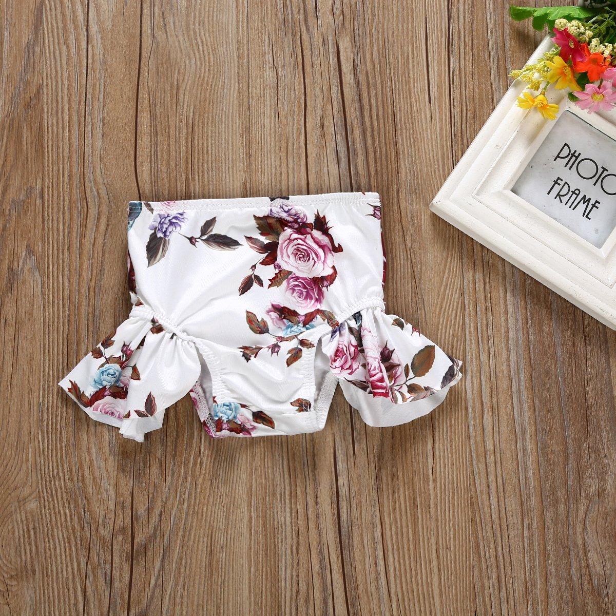 b50c8beb88 Amazon.com: Kids Girl Floral Swimsuits Halter Bathing Suit 2pcs Butterfly  Bow Bikini Set Ruffle Tankini Swimwear: Clothing