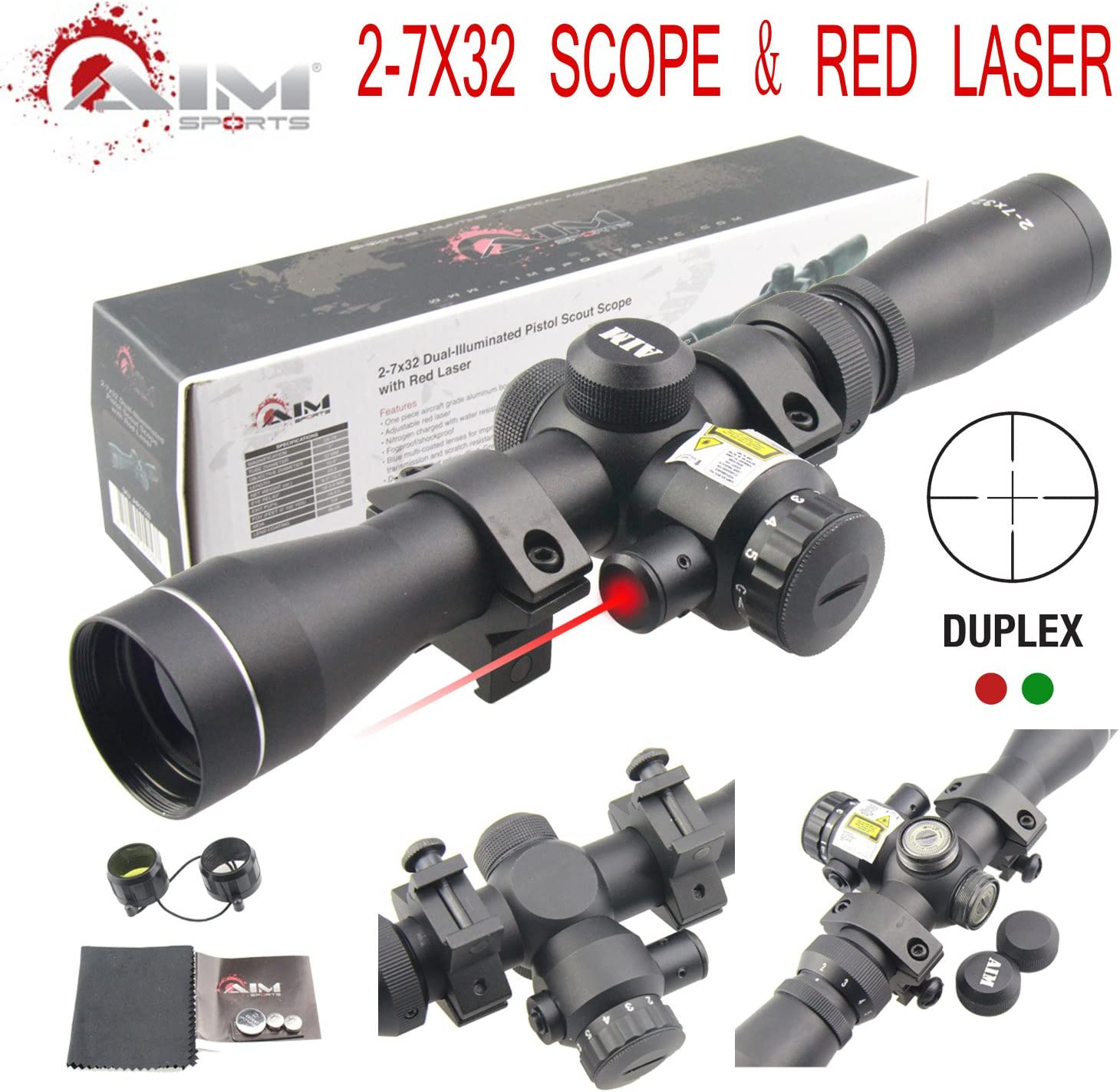 TACFUN AIM Sports 2-7X32MM Long Eye Relief Scout Scope with RED Laser Duplex Reticle