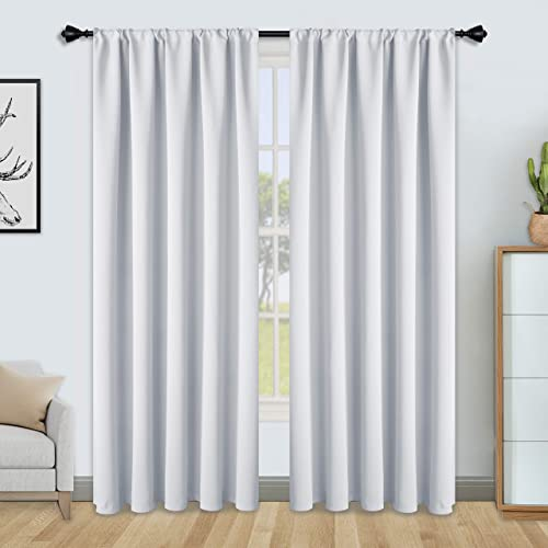 FLOWEROOM Blackout Curtains for Bedroom - Thermal Insulated, Energy Saving and Noise Reducing Rod Pocket Window Curtain Panels for Living Room, Greyish White, 52 x 84 inch, 2 Panels