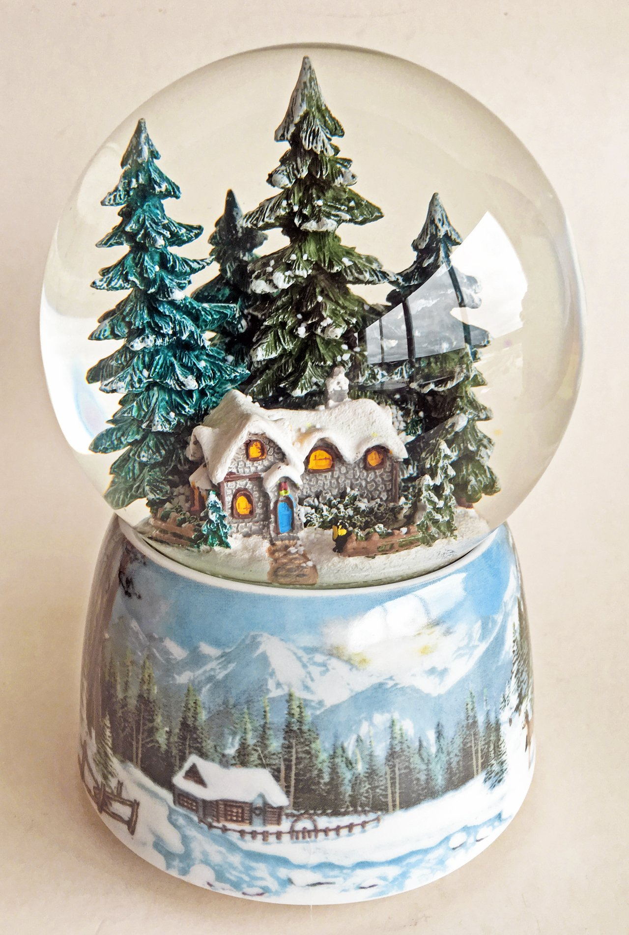 Kensington Row Christmas Collection SNOW GLOBES - WINTER COTTAGE MUSICAL SNOW GLOBE