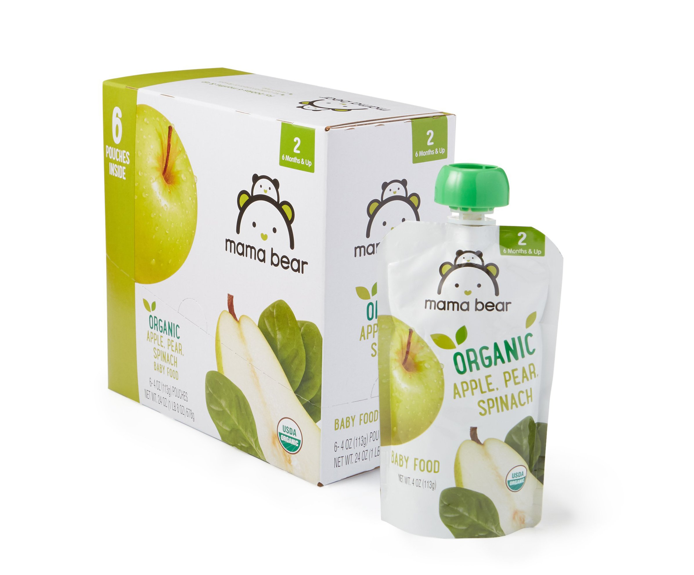 Amazon Brand - Mama Bear Organic Baby Food, Stage 2, Apple Pear Spinach, 4 Ounce Pouch (Pack of 12) by Mama Bear