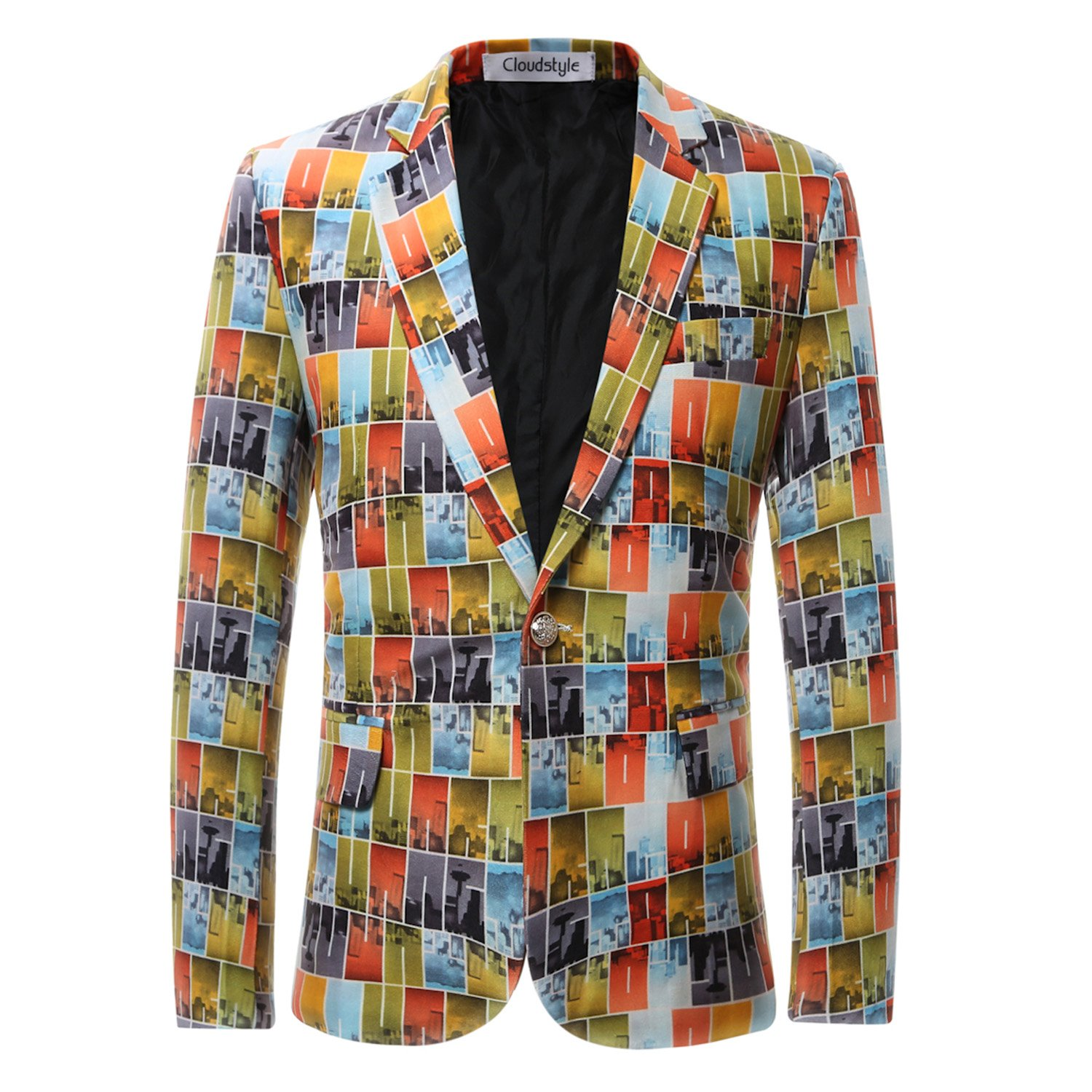 Cloudstyle Mens Funky Printed Blazer One Button Fitted Jacket Party Wear HKXK