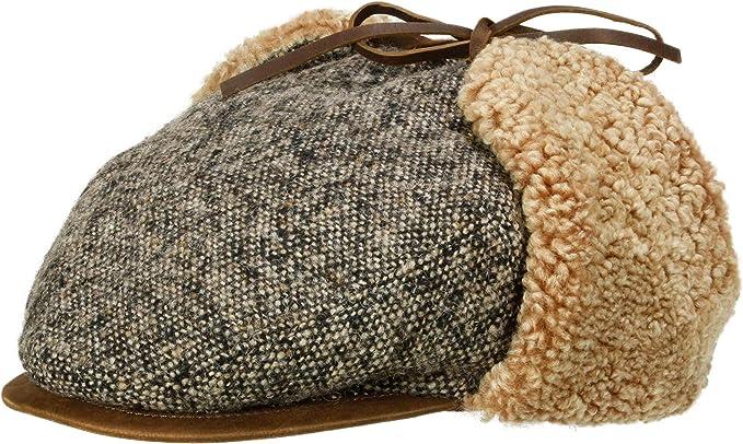 bugatti Pure Wool Leather Visor Flat Cap Men Winter hats wool cap winter cap