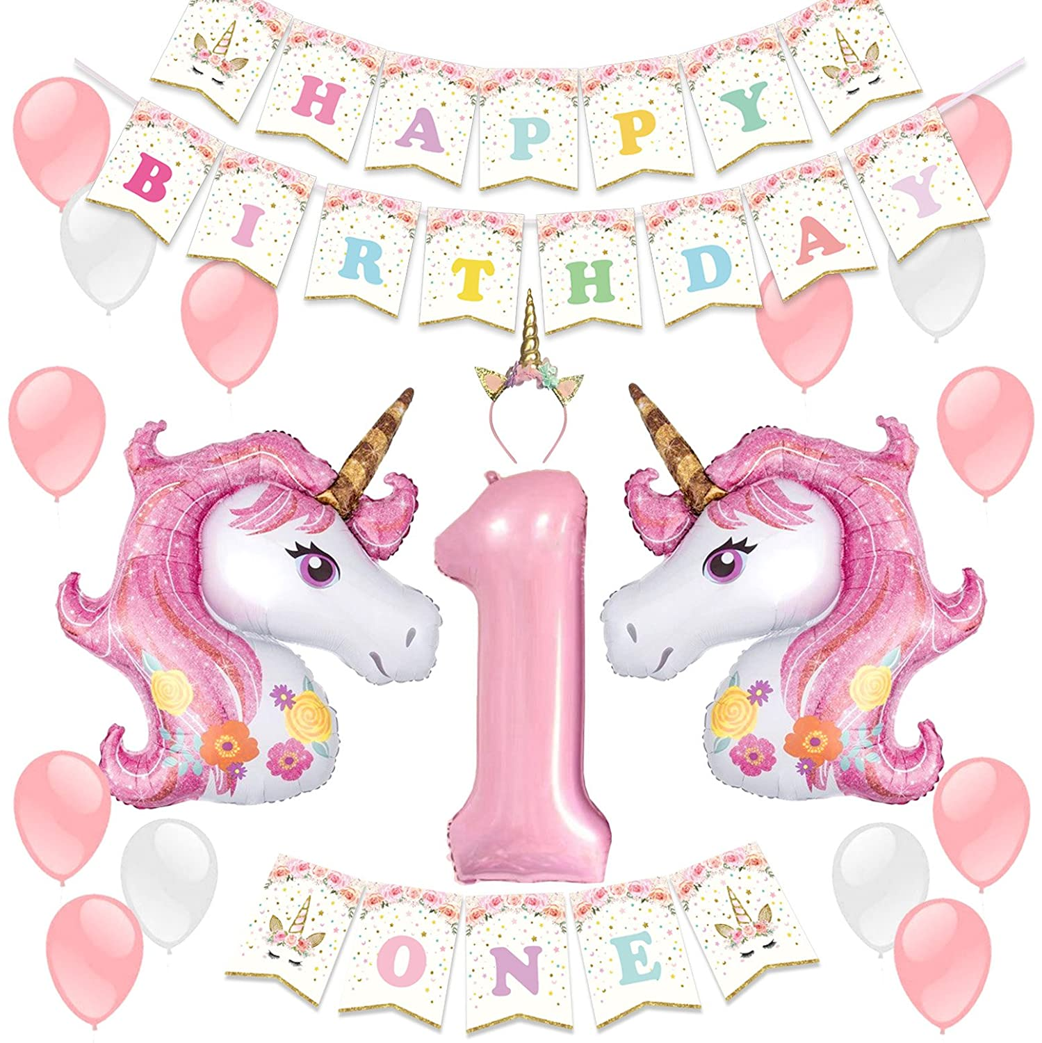 Amazon LUCK COLLECTION Unicorn Party Decoration Supplies For 1st Birthday Girl With Headband Balloons Toys Games