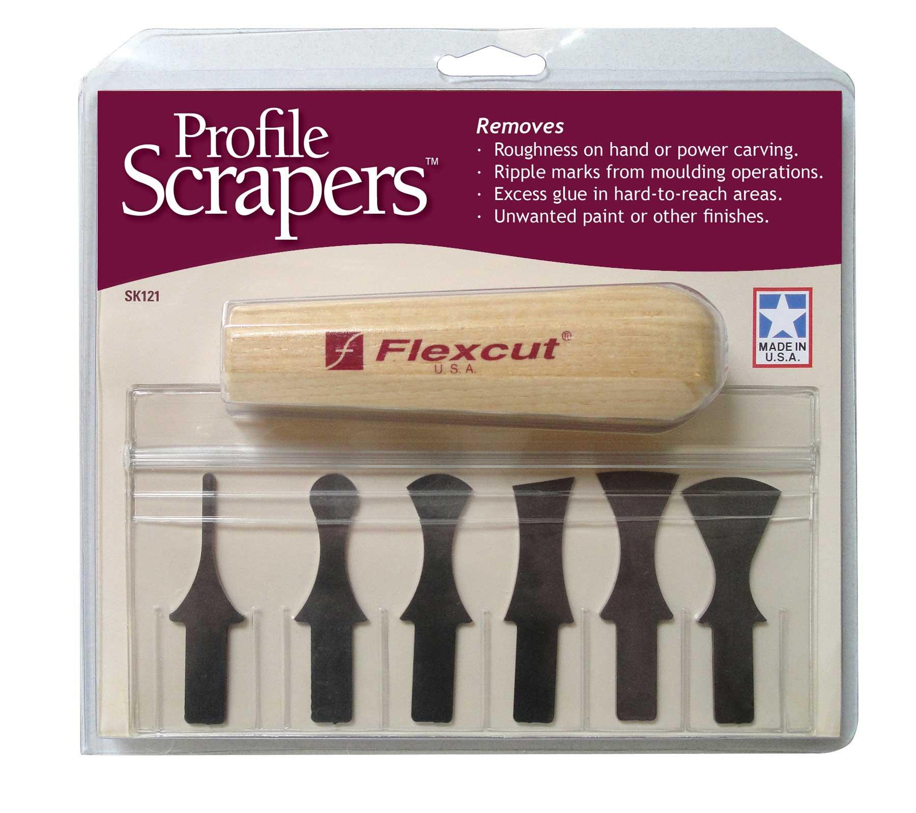 Flexcut Profile Scraper Set, 6 Scraper Bits and Ash Wood Power Handle (SK121) by Flexcut