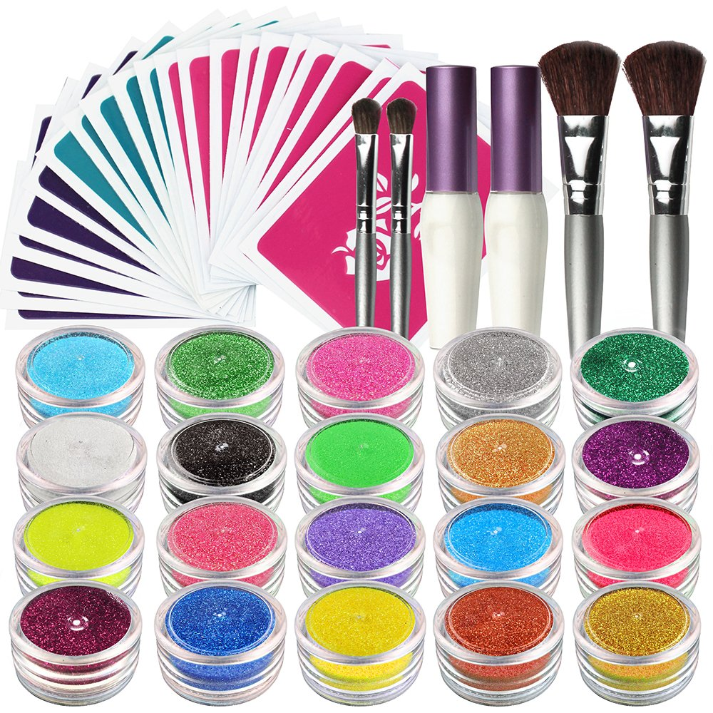 OPHIR Glitter Tattoo Kit 20 Color Glitter Shimmer,30x Stencils Tattoo Body Art Design Kit for Children,Teenagers & Adults (Size, 20 Glitter and 30x Stenccils)
