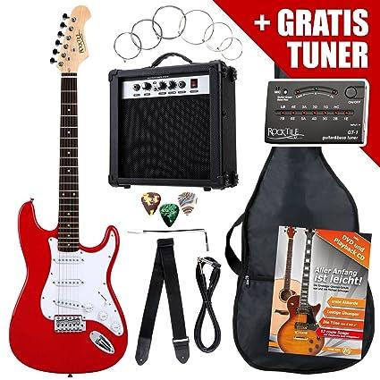 Rocktile ST Pack guitarra eléctr Set rojo incl. ampl, bolsa, afinador, cable