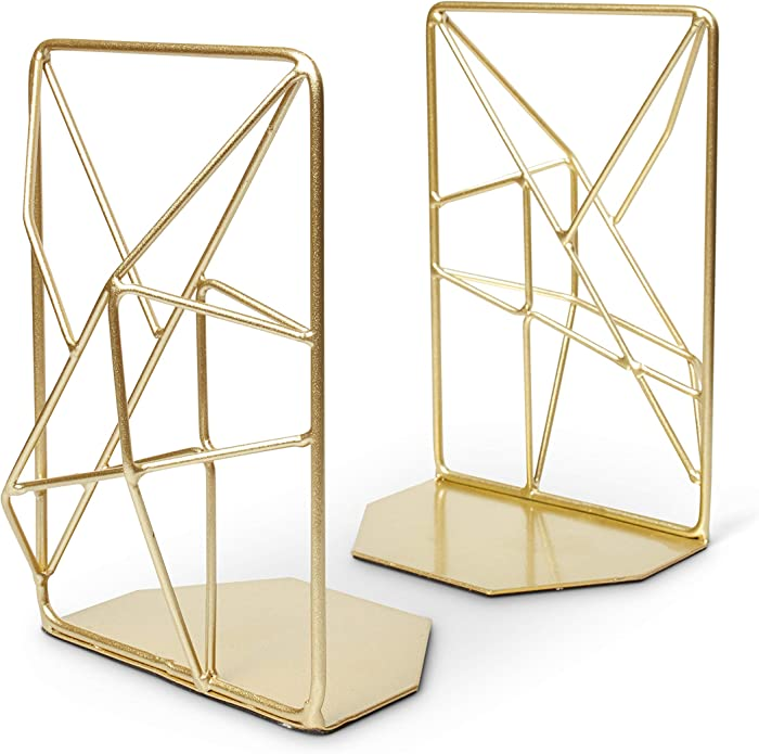 Opal Tree Bookends Geometric Modern Industrial - Decorative Iron Book Stoppers - Abstract/Home/Office/Rustic Creative Shelf Decor (Gold)