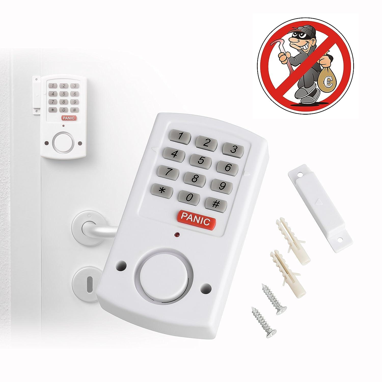 De Puertas y ventanas Alarma con función de emergencia | mobile inalámbrico de pánico alarma para puertas y ventanas, con sensor magnético y teclado Control | autoadhesiva | lauter aprox. 105 Db Alarma | Ideal para mietwohnungen