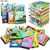 Baby Book Soft Cloth Toy Toddler Early Education Crinkle Book Interactive Development for Christmas Gift-6 pack