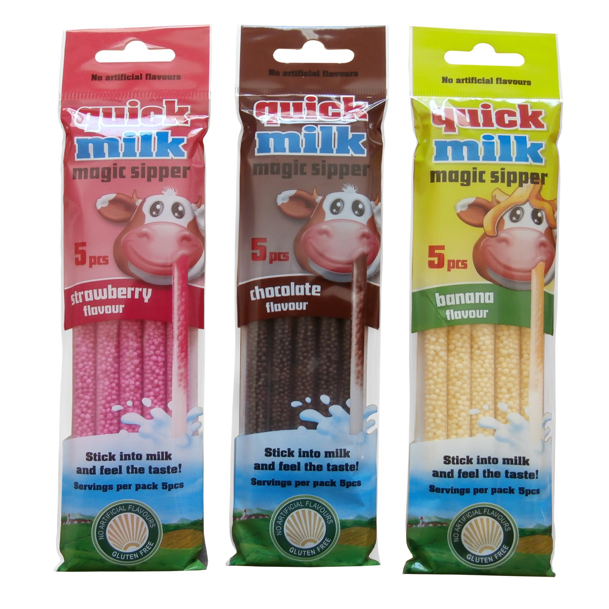 Quick-Milk Magic Sipper Straws, Flavoured Straws for instant Milkshake - Strawberry - Chocolate - Banana