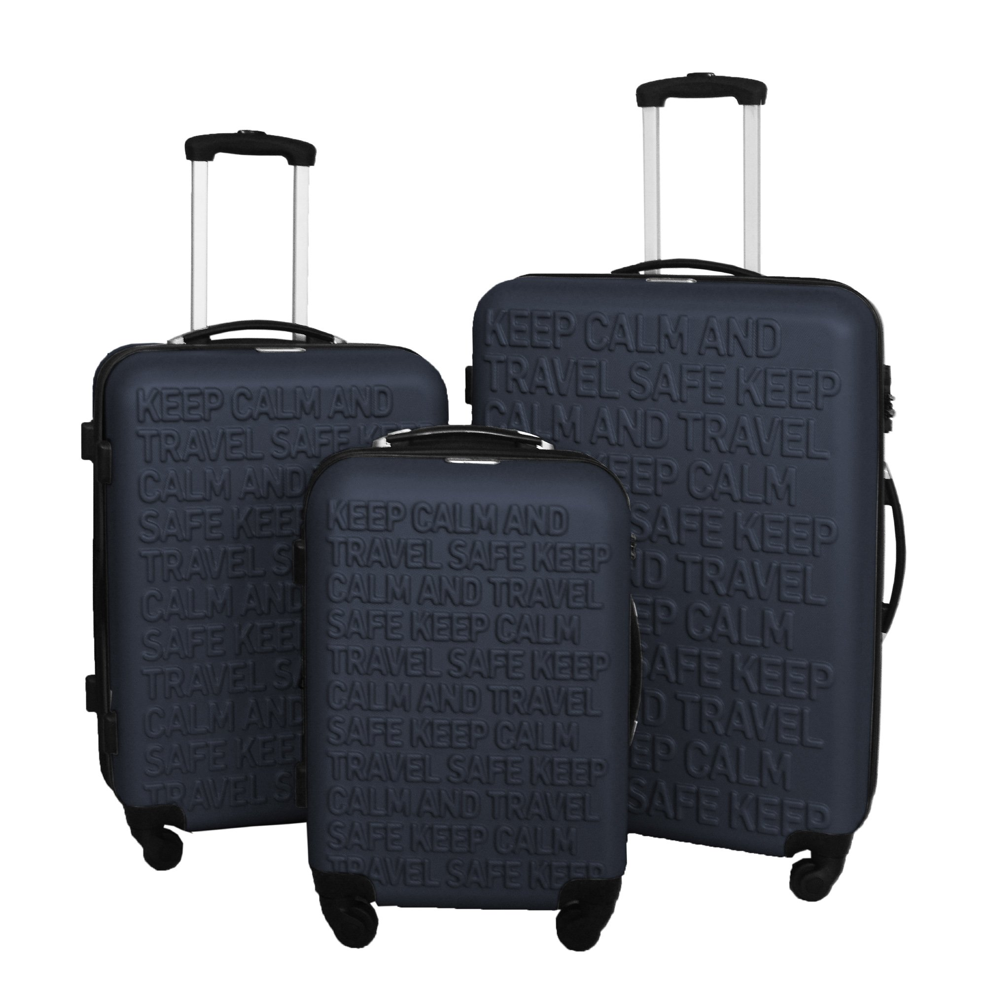 3 PC Luggage Set Durable Lightweight Spinner Suitecase LUG3 SS386A NAVY