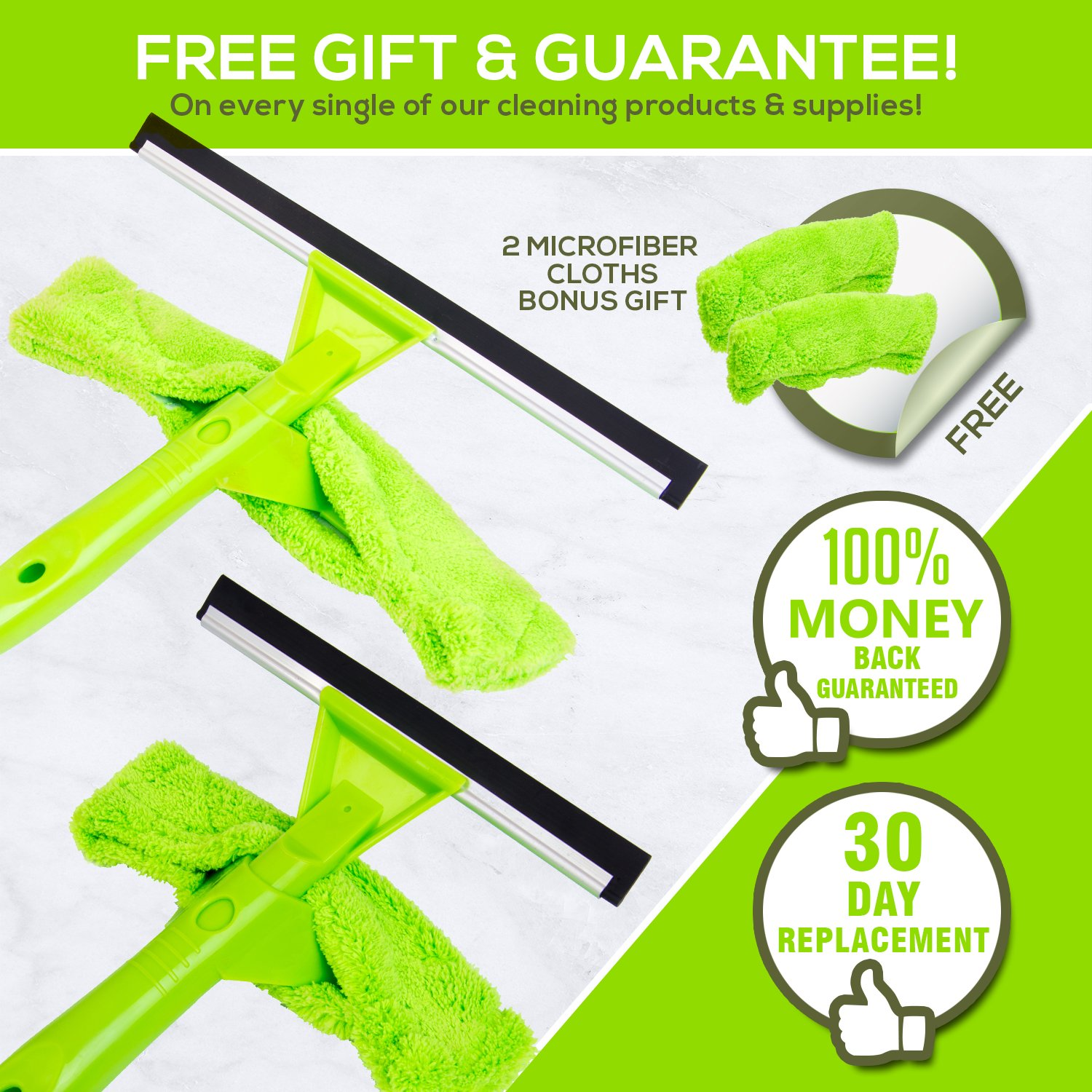 NeverEnding Reach Squeegee Window Cleaner Kit | Shower Squeegee, High Window Cleaning Tools, Car Windshield Tool and Doors - Indoor / Outdoor Washing Equipment with Extension Pole and 4 Washer Heads by Modern Domus (Image #7)