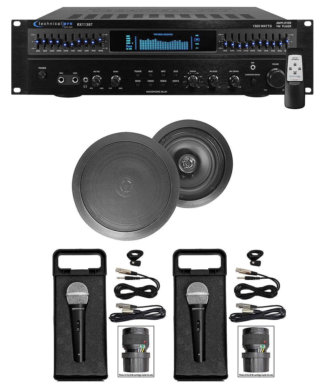 """1500 Watt Home Karaoke Machine System+(2) 8"""" Black Ceiling Speakers"""