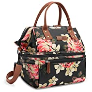 Lokass Lunch Bags for Women Wide Open Insulated Lunch Box With Double Deck  Large Capacity Cooler 981b395b624cb