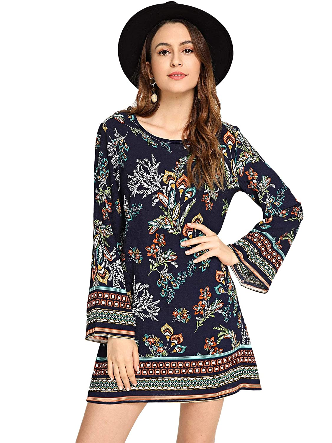 bluee SheIn Women's Long Sleeve Floral Print Casual Boho Tunic Dress