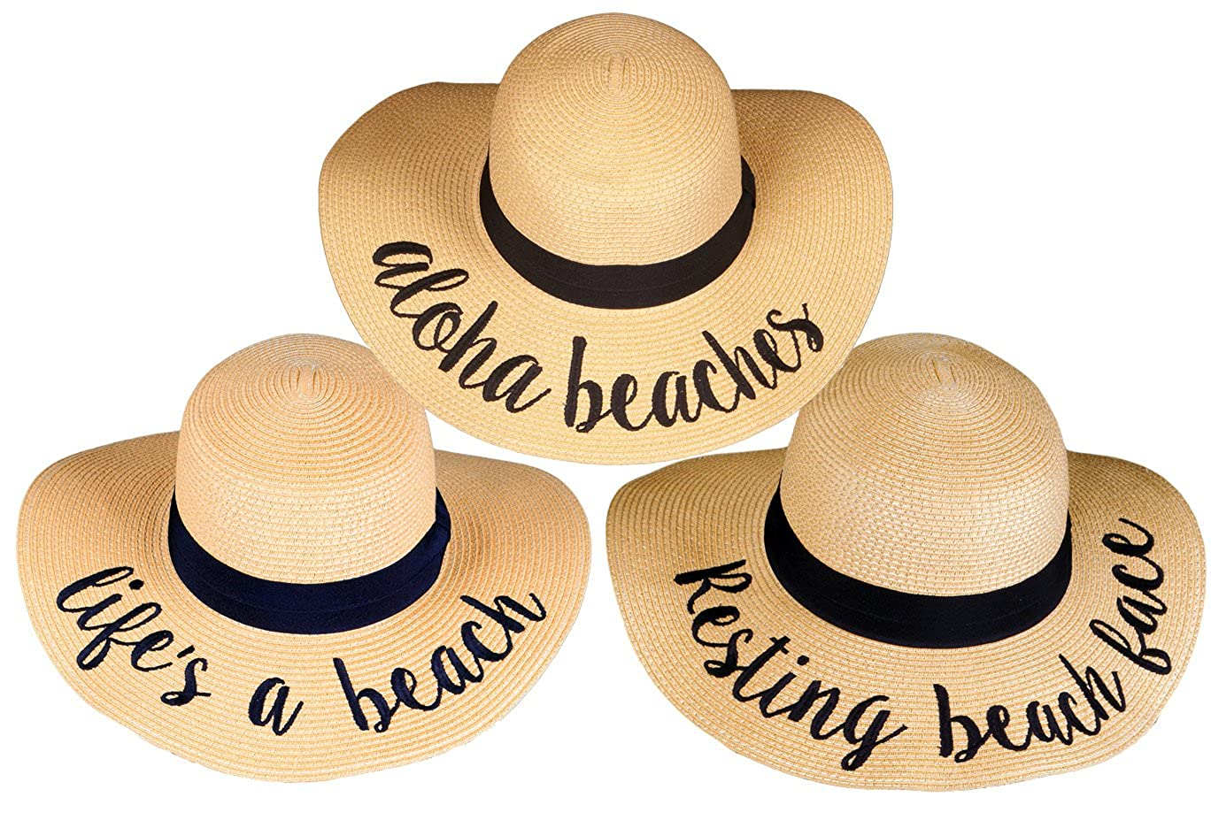 3 Sun Hats  Aloha Beaches, Lifes a Beach, Resting Beach Face Funky Junque Women's Bold Cursive Embroidered Adjustable Beach Floppy Sun Hat