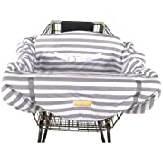 Balboa Baby Jersey Shopping Cart Cover - Grey & White Cabana Stripe