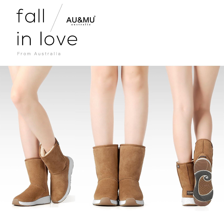 AU&MU Women's Full Fur Sheepskin Suede Winter Snow Boots B074TFTBG3 7 B(M) US Chestnut 5