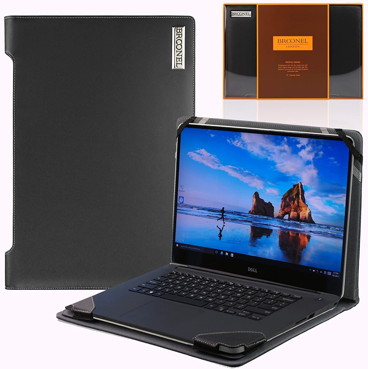 Broonel Profile Series Black Vegan Leather Luxury Laptop Case Compatible with TheHPEnvy x360 15 ar052sa 15.6 inch 2 in 1